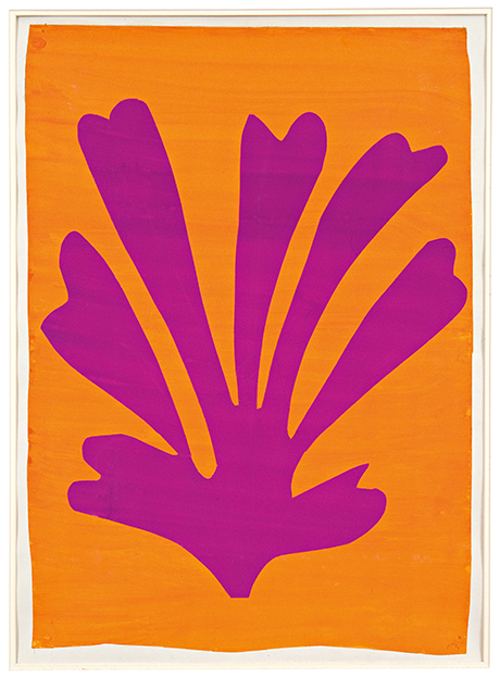 Henri Matisse - Violet Leaf on Orange Background (Palmette) 1947