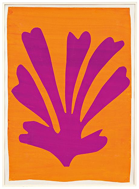 Henri Matisse - Violet Leaf on Orange Background (Palmette) 1947